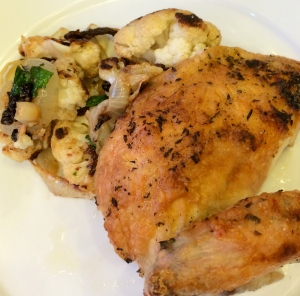 Roast Chicken with melting onions and cauliflower